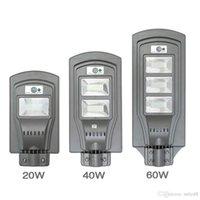 LED مصباح للطاقة الشمسية وول ستريت ضوء 20W / 40W / 60W الغسق إلى الفجر السوبر مشرق استشعار الحركة مصباح الأمن مقاوم للماء لحديقة الفناء