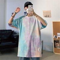 Artı Boyut Erkek Tasarımcı tişörtleri Moda Kravat Boyalı Kısa Kollu Oversize Tees Hip Hop Erkek Yaz Tops
