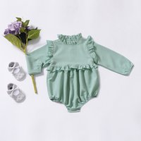3a4ad33fce23 Wholesale baby romper online - baby girl clothing romper spring solid color  design round collar long