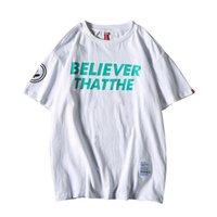T-shirt da uomo Zuoolunouba 2021 Summer HARAJUKU Style Wild Black Manica Black T-shirt T-shirt Trend Casual Lettera allentata Stampa Boys Tees Tops