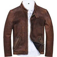 Distressed Cow Leather Jacket and Coats For Men European Vin...