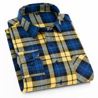 Flanella Uomini Plaid Shirt Slim Fit casuale a maniche lunghe di levigatura camicia Primavera Autunno Maschio abito sociale camice Soft Comfort 4XL 3XL Y200104