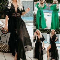 2020 femmes Longue robe de plage solide Bikini Cover Up Robe longue Boho Maillots de bain été V Neck Dress