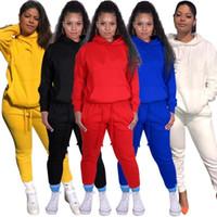 Para mujer trajes de manga larga 2 piezas conjunto chándal jogging  sportsuit sudadera con capucha legging 40ab7a04b8b