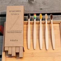 4PCS Cepillo de dientes de carbón de bambú ambiental Salud Herramienta de cuidado bucal Limpieza de dientes Eco amigable Cepillos de cerdas suaves portátiles