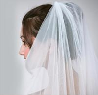 Женская свадьба вуаль два слоя 2T Tulle кружевной край с гребнями Bridal вуалью короткая белая вуаль для свадебных аксессуаров хорошее качество
