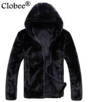 artificielle manteau de fourrure 6XL Plus Size Leather Jacket Men Manteau de fourrure d'hiver 2020 coupe-vent Décontracté Noir Faux Jaqueta De Couro S67