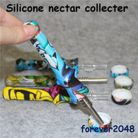 14mm Food Grade Siliconen Mini Rookpijp met Titanium Nail Gedrukt Nectar Collector Pipes Rookhulpmiddelen van Glass Bongs DAB RIGS