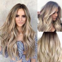 Ombre Body Wave 180% Densité Résistant à la chaleur Hair Brown Perruque avant Perruque Middle Perruques synthétiques sans gluë pour femmes noires FZP141