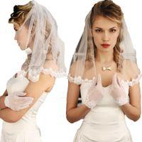 طول قصيرة الزفاف الحجاب 1 الفئة يزين الرباط اللؤلؤ مع مشط الزفاف للبنات بمدينة لونغ مصلى طول الخرزة
