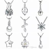 2019 olmadan 45 stilleri 925 Ayar Gümüş Kolye Kolye Zinciri Moda Charms kolye kolye İnci Kristal çiçek kolye takı