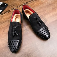Herren Niet Spike samt Loafers Kleid Schuhe Italien Mlae Homecoming Prom Party Pageant Hochzeit Schuhe Mokassins