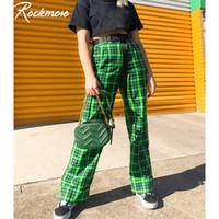Rockmore da manta verde Mulheres Calças retas Harajuku cintura alta Corredores Oversized Checkered Streetwear Casual calças perna larga