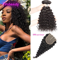 Peruvian Human Hair Wefts With Closure 6X6 With 3 Bundles De...