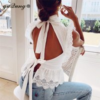 yuqung Elegant white lace blouse shirt ruffle hollow out emb...