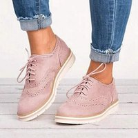 WENYUJH caoutchouc Brogue Chaussure Femme Plate-forme Oxfords style britannique Creepers Découpes Flats Casual Chaussures Femmes PU lacent Chaussures