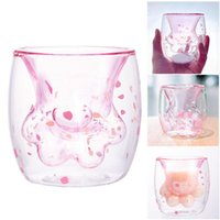 Cat Claw Paw Glass Cup Cute Flower Petal Transparent Coffee ...