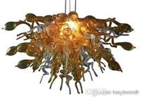 최고 디자인 황색 선샤인 컬러 DIY 계층 형 LED 플러시 손 불어 유리 예술 샹들리에 조명을 탑재