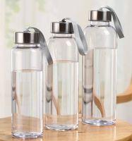 300ml 400ml 500ml Botellas de agua para deportes al aire libre Vasos de plástico transparentes redondos a prueba de fugas con cuerda de elevación Taza de agua portátil de viaje GGA2632
