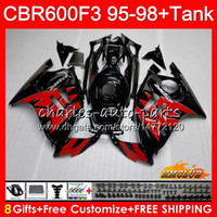 Cuerpo + tanque para HONDA CBR 600F3 600CC CBR600 F3 95 96 97 98 41HC.123 CBR 600 F3 CBR600FS CBR600F3 1995 1996 1997 1998 Alquiler negro negro