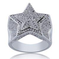 Prezzo di fabbrica inferiore Hip Hop Star Ring Argento Anelli placcati oro per uomo Design del marchio Cubic Zirconia Icey Hiphop Anello Mens Gioielli di moda