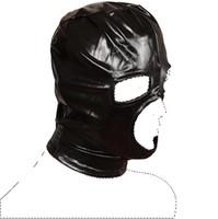 Noir BDSM masques tête sexe capuche produits hommes oeil ouvert joueur sm masque esclave adultes pour les couples lingerie jeu de rôle Flirter Sex toys