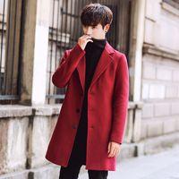 Lungo il rivestimento degli uomini coreani di inverno degli uomini Trench Slim Fit autunno Outwear Plus Size 5XL di lana lungo cappotto Trench