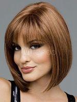 % 100 Gerçek Saç! Seksi Kısa Doğal Düz Peruk Kadınlar Açık Kahverengi Saç Peruk