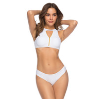 Pure color wearable split swimsuit with high elasticity and ...