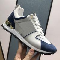 Sapatos de grife de luxo das mulheres dos homens run away sapatilha de couro de bezerro calçados casuais moda formadores cor chamativo com caixa us4-11