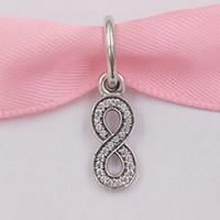 Otantik 925 Ayar Gümüş Boncuk Infinity Gümüş Dangle Charms Avrupa Pandora Stil Takı Bilezikler Uyar Kolye 791351CZ