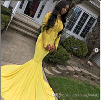 Yellow Long Mermaid Prom Dresses 2019 New Long Sleeve Off Th...