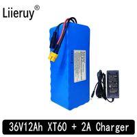 batteria Liieruy 36V 12AH bici elettrica integrata nella batteria al litio 20A BMS 36 Volt con batteria carica 2A Ebike