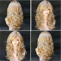 capelli sintetici delle donne della signora Long modo caldo parrucche multicolore 60 centimetri di capelli vino di medio-lunghi capelli ricci testa oro marrone parrucche W004