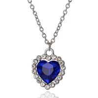 20pcs romantique petite taille coeur de l'océan collier pendentifs boucles d'oreilles femmes bleu cristal strass ensembles de bijoux K5503