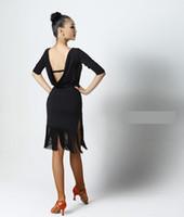 Schwarz Rot Erwachsene / Mädchen Latein-Tanz-Kleid Salsa Tango Chacha Ballsaal Wettbewerb Praxis Tanzkleid reizvolle Backless lange Hülse Quaste Kleid