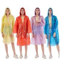 Hot a gettare Raincoat adulti emergenza impermeabile indumenti impermeabili esterna unisex viaggio Camping cappotto di pioggia Moda Hood fibbia HHA1290