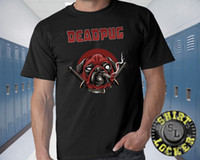 Deadpool Pug Funny Adult Black Tee Shirt Superhero Comic Boo...