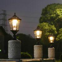 L'energia solare ha portato postale nero luce giardino paesaggistico Illuminazione pilastro porta a LED Lampione oro all'aperto per Villa Park ponte yark