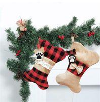 Bug Haustiere Weihnachtsstrumpf Sackleinen Rote Plaid Socke Fische Geformte Weihnachtsbaum Hängen Anhänger Home Party Dekoration Festival Geschenk für Familie