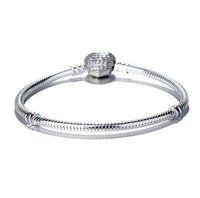 Donne Luxury Fashion 925 Sliver placcato Amore cuore CZ Diamante Bracciale catena a mano per Pandora Bracciale catena serpente W75