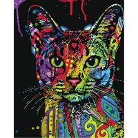 At Çapraz Dikiş Setleri Mosaice süs Boyama Renkli Kedi Tam Matkap DIY 5D Yuvarlak Rhinestone Nakış Elmas