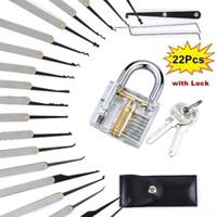 La pratica di blocco attrezzi del lucchetto della serratura Serrature Skill Training Set Extractor chiave trasparente (15/22 Pz)