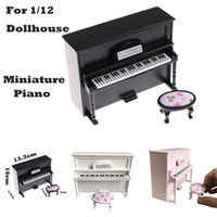 Miniatura de madera negro piano vertical Mini Doll modelo a escala para 1/12 Dollhouse Mini Doll House Kit de accesorios F3