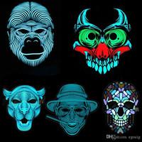 Voice-LED-Steuerung Masken Halloween Vollgesichtstanzpartyschablone Maskerade 3D Tier Beleuchtung Masken Halloween Zubehör