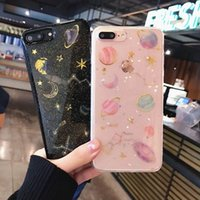 Custodia per cellulare TPU Galaxy Space Glitter TPU per iPhone 7 7Plus X 6 6s 6Plus