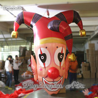 Customized Hanging Halloween Inflatable Clown Head Replica 3m Height Large Air Blown Droll Mask Model Balloon For Bar And Party Decoration