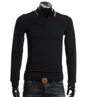 Buscar New Perry Londres Brit Polo cuello camisa rayada Hombres Otoño Inglaterra Diseño Polos de manga larga con punta gemela masculinos Polos sólidas