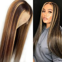 Two Tone Ombre Highlight Lace Front Wigs Straight 12A Grade ...