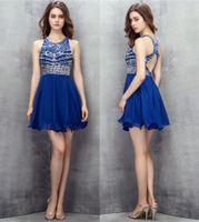섹시 로얄 블루 짧은 미니 칵테일 드레스 오픈 다시 수제 구슬 칵테일 홈 메이커 드레스 evenging 가운
